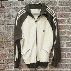 Vintage Canadian adidas Track Jacket 1980s w/ Sewn on Trefoil Patch Tan Brown
